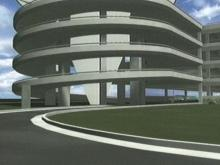 A computer-rendered image of the new parking deck at RDU.