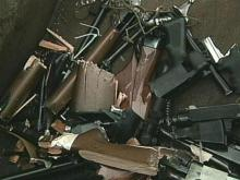 Distroyed weapons end up in the scrap yard before becoming recycled pieces of other products.