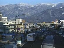 A sunny day greets the downtown district of Nagano.