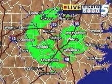 Green was a popular color on WRAL's Live Doppler 5000 Wednesday night. This shot, taken around 11:30 p.m., shows where light snow was falling. Some folks might get a dusting. (WRAL-TV5 News)