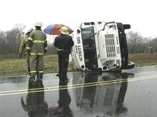 This activity bus overturned Wednesday, March 18, as it was carrying children on a visit to the zoo.