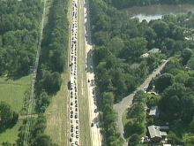 Traffic was backed up for miles before police began rerouting traffic. (WRAL-TV5 News)