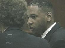 Kawame Mays and his attorney talk as they await the jury's sentencing decision. (WRAL-TV5 News)
