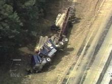 This tractor-trailer overturned on I-85 near Oxford, causing traffic to be re-routed. (WRAL-TV5 News)
