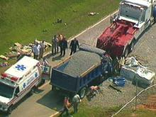 One person was killed in an early morning accident involving this dump truck and a tractor-trailer. (WRAL-TV5 News)