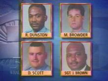Police officers Dunston, Browder and Scott have been fired after missing a deadline for appealing charges against them. Officer Brown has appealed similar charges. (WRAL-TV5 News)