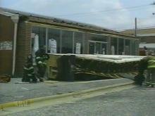 The overhangin awning at the Beatitude Center in Fayetteville fell Sunday. (WRAL-TV5 News)