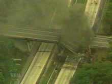 This ovepass collapsed when a tanker truck exploded and burned underneath it. (WRAL-TV5 News)