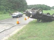 This accident blocked a Wade Avenue ramp for a while Sunday afternoon (WRAL-TV5 News)