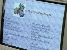 This computer menu provides an overview of some of the sites available to children at Cumberland County libraries. (WRAL-TV5 News)