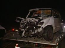 Witnesses say a Chevy Blazer crossed the median and hit a mini-van and this Subaru.(WRAL-TV5 News)