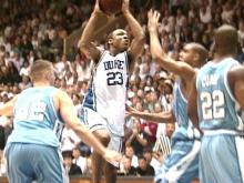Duke's Chris Carrawell driving the lane against the Tar Heels in their first matchup of the 1998-99 season.(WRAL-TV5 News)