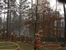 Fire fighters believe lightening was to blame for this fire in North Raleigh Sunday afternoon.(WRAL-TV5 News)