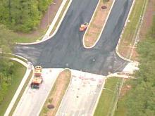 To allow repair of the water line and the road, this part of Cary Parkway was blocked for days(WRAL-TV5 News)