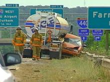 Police say a van traveling in the wrong direction on northbound US-1/64 in Cary slammed into a gasoline tanker just past Walnut Street.(WRAL-TV5 News)