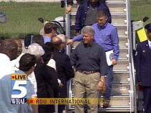 President Clinton arrived at RDU International Monday morning. He will tour flood damage in eastern N.C. and speak in Tarboro.(WRAL-TV5 News)