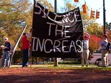 Thursday, over 100 students gathered on campus to take a stand against the proposed increase.(WRAL-TV5 News)