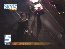 This was the view from Sky5 of an accident in Johnston County late Friday evening.(WRAL-TV5 News)