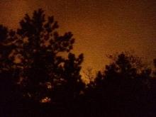 The glow of advancing flames lit up the night sky in Harnett County.(WRAL-TV5 News)