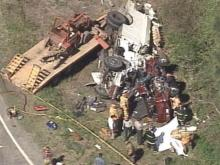 A commercial truck and an SUV collided just outside of Kenly at the intersection of Beulahtown and Bay Valley roads. Four children were killed in the accident.(WRAL-TV5 News)
