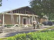 Flames damaged Wiseman's Mortuary on Saturday.(WRAL-TV5 News)
