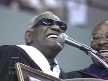 Music icon Ray Charles happily accepts an honorary doctorate degree from Shaw University.(WRAL-TV5 News)