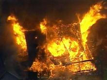 The blaze was discovered at about 6:30 a.m. This was the scene when Sky 5 flew over.(WRAL-TV5 News)