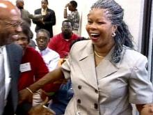 A surprised Jeannette Council reacts to the vote. She will replace the late Tom Bacote on the Cumberland County Board of Commissioners.(WRAL-TV5 News)