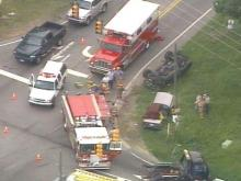 Two people died in this Wednesday afternoon accident at Ten-Ten and Lake Wheeler roads.(WRAL-TV5 News)