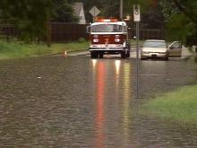 The intersection of Glendale and Medical Park Drive in Wilson was flooded Monday morning.(WRAL-TV5 News)