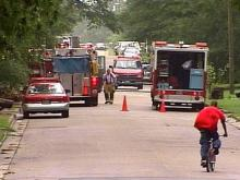 An elderly woman was burned Monday morning in a house fire on St. George Road in Raleigh.(WRAL-TV5 News)