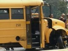 This Wake County bus was involved in an accident with a mobile crane in front of Davis Drive Elementary. No students were on the bus.(WRAL-TV5 News)