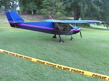 This small plane landed Saturday night on a soccer field at Southeastern Baptist Theological Seminary in Wake Forest.(WRAL-TV5 News)