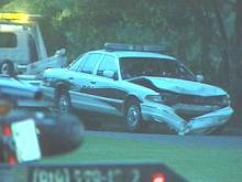 A motorcyclist died Thursday evening after he crashed into a Cary police officer's car.(WRAL-TV5 News)