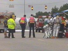 A fuel spill closed Highway 53 Monday afternoon near the I-95 exchange in Fayetteville.(WRAL-TV5 News)