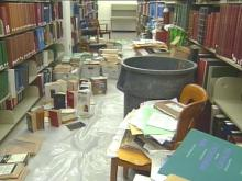 Broken Water Pipe Causes Problems At Duke University's Perkins Library