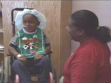 Two-year-old Denarrius Langston continues to show signs of improvement after accidentally shooting himself in the head.(WRAL-TV5 News)