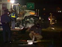The truck and a car collided in the eastbound lanes.(WRAL-TV5 News)