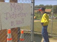 Metal detectors have become a regular fixture at Chapel Hill High School after a number of recent incidents.(WRAL-TV5 News)