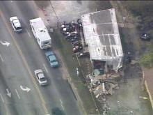 From Sky 5, the damage is apparent. Business owners gathered Friday morning to salvage what they could.(WRAL-TV5 News)