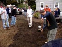 Junior ROTC cadets are pitching in to build a park in Sanford.(WRAL-TV5 News)