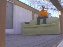 Sharpsburg resident Vicky McNeil moved her couch outside a few weeks ago to make room inside. The town is now making it illegal to drag worn-out furniture outside.(WRAL-TV5 News)
