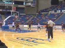 The new National Basketball Development League is looking for players. Potential players started a 10-day training camp Monday at the Crown Coliseum in Fayetteville.(WRAL-TV5 News)