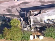 The driver of this truck died when he was electrocuted.(WRAL-TV5 News)
