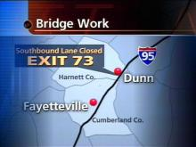 The lane closure begins Sunday at 7 a.m.(WRAL-TV5 News)