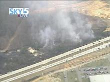 Smoke fills the skies over Johnston County near I-40 and Hwy. 42.(WRAL-TV5 News)