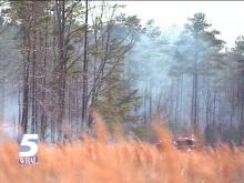 Three acres burned Saturday in North Raleigh.(WRAL-TV5 News)