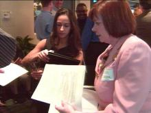 The reverse job fair was organized by laid-off Nortel employees.(WRAL-TV5 News)