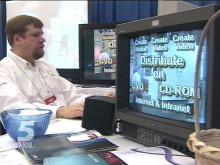 """Start-ups and established companies are showing their new products and services at NCSU's """"Showcase 2001.""""(WRAL-TV5 News)"""