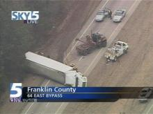 An overturned tractor-trailer is causing major traffic problems on U.S. Highway 64.(WRAL-TV5 News)